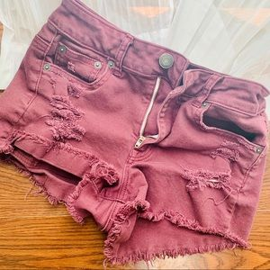 American Eagle Distressed High Waisted Shorts